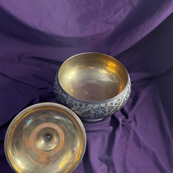 Hand Etched Bowl with Lid - Asian