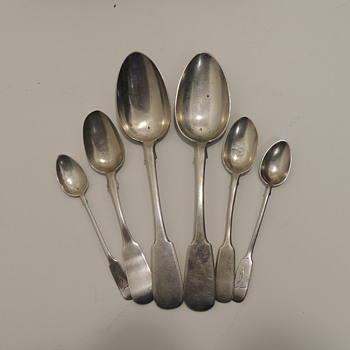 3 Pairs of Russian Hallmarked Silver Spoons - Silver