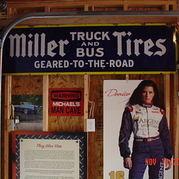 Miller Tires...Truck And Bus...Geared To The Road...Porcelain Sign...Three Colors - Signs