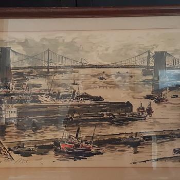 John Haymson Print/Painting?? East River Looking North N.Y.C. - Fine Art
