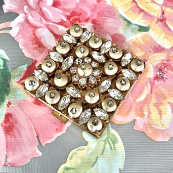 Original by Robert Faux Pearl and Clear Rhinestone Brass Powder Compact Mirror - Accessories