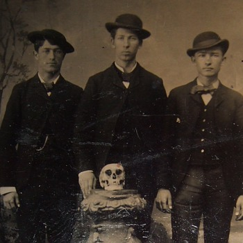 Tintype of Young men with a SKULL displayed - Photographs