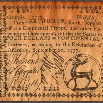 Colonial Currency - Novelty Note (Georgia) - US Paper Money