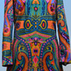 Vintage 1970s Psychedelic almost Art Nouveau Midi Dress from UK