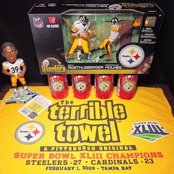 Pittsburgh Steelers Super Bowl 43 XLIII McFarlane Figures Terrible Towel Coke Coca Cola Cans Roethlisberger Parker Holmes NFL - Coca-Cola