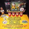 Pittsburgh Steelers Super Bowl 43 XLIII McFarlane Figures Terrible Towel Coke Coca Cola Cans Roethlisberger Parker Holmes NFL