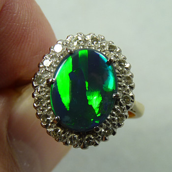 Black Opal & Diamond Cocktail Ring, circa 1950's to 60's  - Fine Jewelry