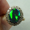 Black Opal & Diamond Cocktail Ring, circa 1950's to 60's