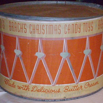 1937 Brach's candy drum counter display.