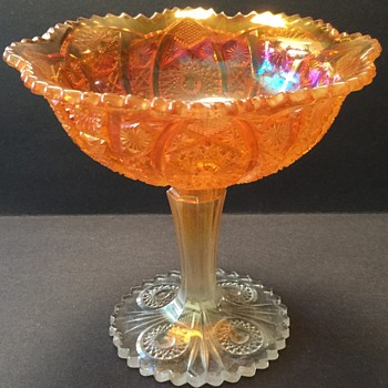 Vintage Imperial Glass Daisy and Button Marigold Carnival Compote - Glassware