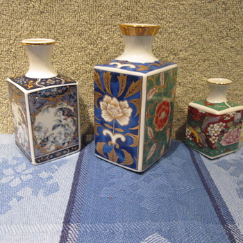 Antique Sq Mini Vases Mix Lot sizes - Asian