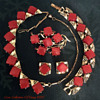 Coro 1950s Red Thermoset Necklace, Bracelet, Brooch, Earring Set