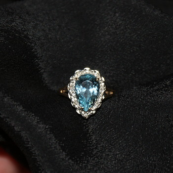 10KP Gold Aquamarine and Diamond Accents Ring - Fine Jewelry