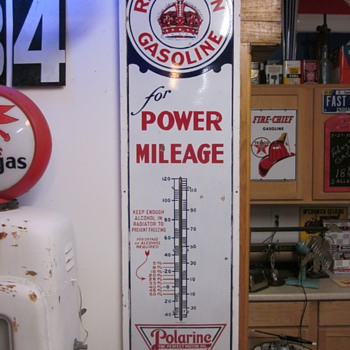 Red Crown Gasoline Polarine 6 Foot Porcelain Thermometer
