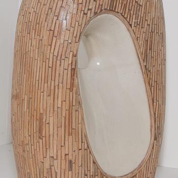 Eames Era Vase (maybe) with wood Mosaic