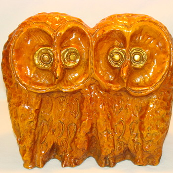 Studio Pottery Ceramic Double Owl Sculpture MCM Style Art - Pottery
