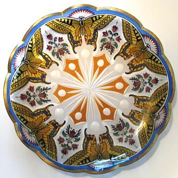2 Glass Plates Fachschule Haida/Steinschoenau 1920 Bohemia - Art Nouveau