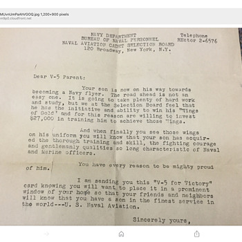My Dads WW2 letter while training as a naval pilot  - Military and Wartime
