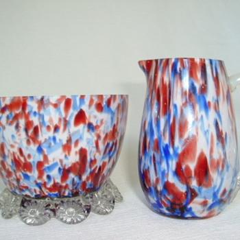 Bohemian Welz Sugar Bowl and Creamer - Art Glass