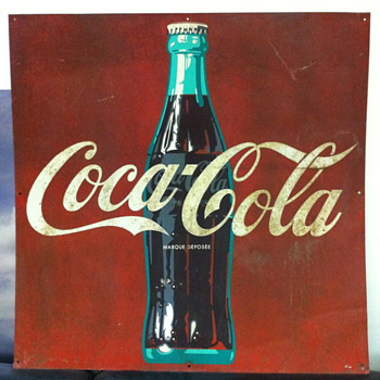 French 36 inch metal sign - Coca-Cola