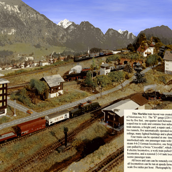 Z Guage layout circa 1969.  Landscape features all to scale. - Model Trains