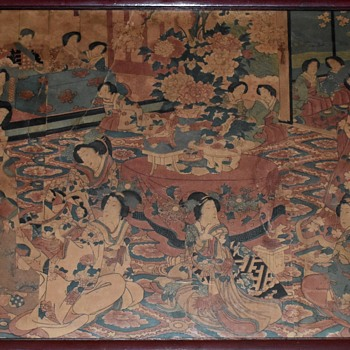 large Japanese Print or Triptych of Women in a Salon