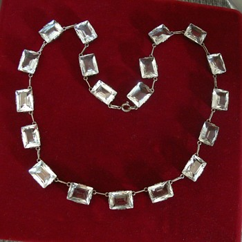 A riviere necklace with rock crystal stones - what era? I think it looks Art Deco - Fine Jewelry