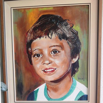 Oil painting of my 4 years old son (painted 1979)  - Fine Art