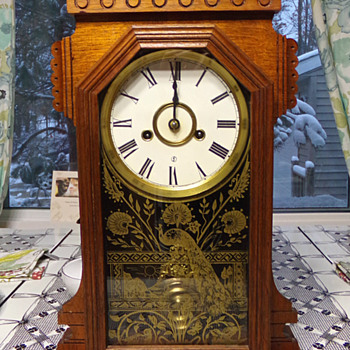 Ansonia Case Clock with Peacock  - Clocks