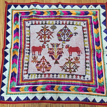 "Beaded & fabric Wall  tapestry  31""x31"" Indian ? - Native American"