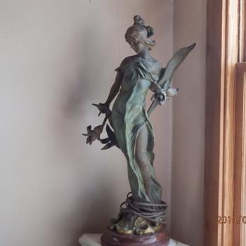 Art Nouveau lamp - my 2-light lady - Art Nouveau