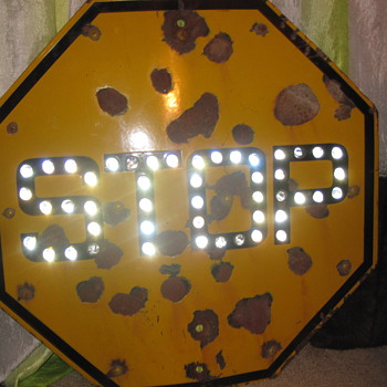 Yellow Marble Stop Sign (Company MPLS) - Signs