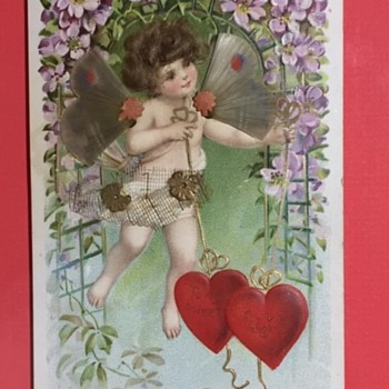 Antique Valentine's Day Card with real hair  - Advertising