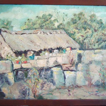 "1957 oil ""Mexican Hut"" by Rena Duthie Melville"