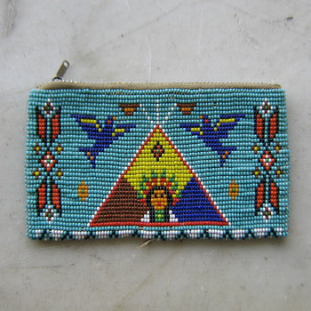 1950's loomed bead coin purse in Native American style - Accessories