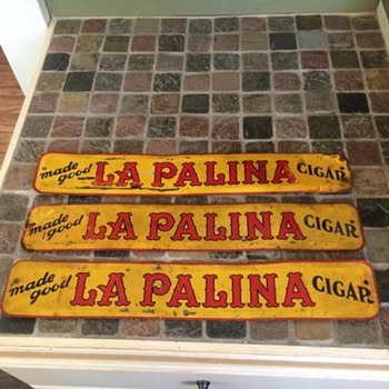 Metal door push cigar sign La Palina Cigar