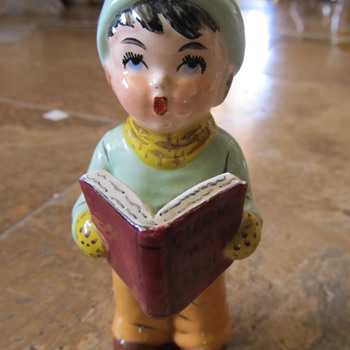 Porcelain Little Boy Christmas Caroler  Delee (?) - Christmas