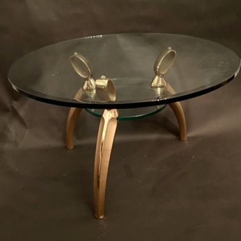 Nice quality brass and glass side table -  unknown origin and maker and age - Furniture
