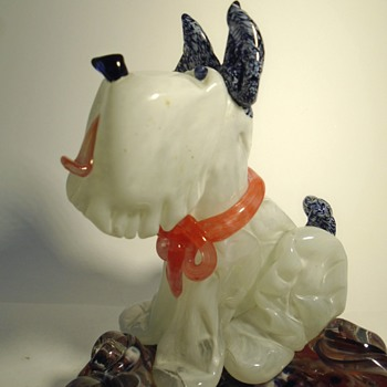 Zelezny Brod art glass figural doggy ashtray -- mid-century Czech art glass - Animals
