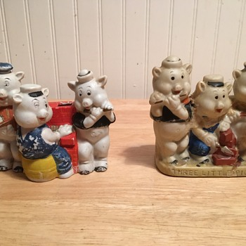 """Three Little Pigs"" Bisque Toothbrush Holders - 1933"
