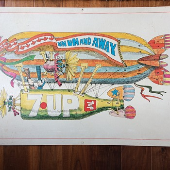 7up Rare Canadian Un Un and Away  Lithograph 1970 C - Advertising