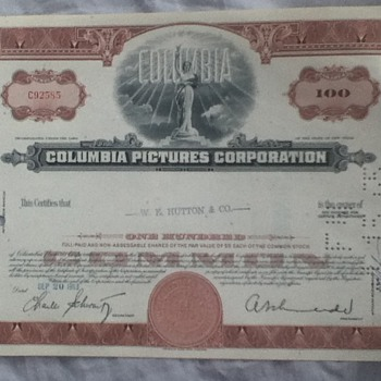 Columbia Pictures Corporation Stock Certificate - Paper