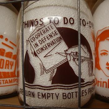 ST. LAWRENCE QUALITY PRODUCTS...READING, PENNSYLVANIA CREAM TOP WAR SLOGAN MILK BOTTLE - Bottles
