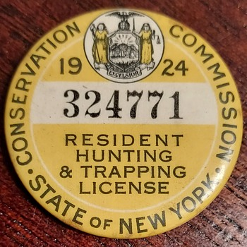 1924 New York Hunting & Trapping License - Sporting Goods