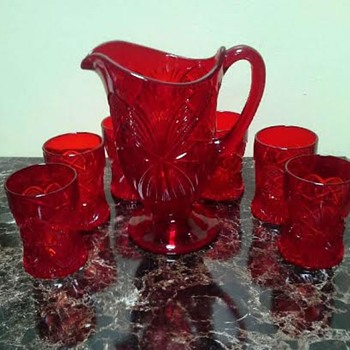 Red Footed Pitcher & glasses ~ Antique or Reproduction? - Glassware