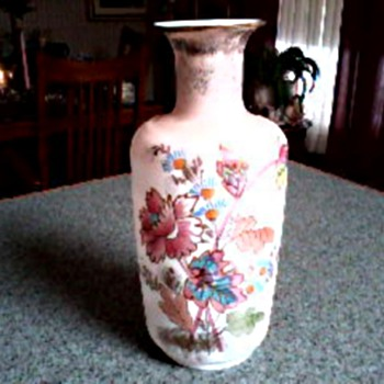 "Bristol Glass 10"" Vase /Hand Painted Floral Design with Gilt Accents/Circa 19th Century - Art Glass"