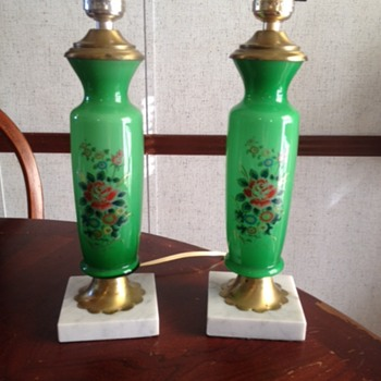 Pretty set of green lamps with marble base - Lamps