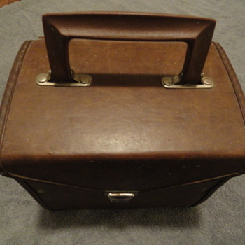 "1970's Vintage 7"" 45 RPM Phonograph Record Carrying Storage Case Brown Vinyl"
