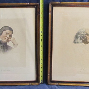 Vintage lithographs of Franz Liszt and ?? - Posters and Prints