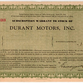 1931 - Durant Motors Stock Certificate - Paper
